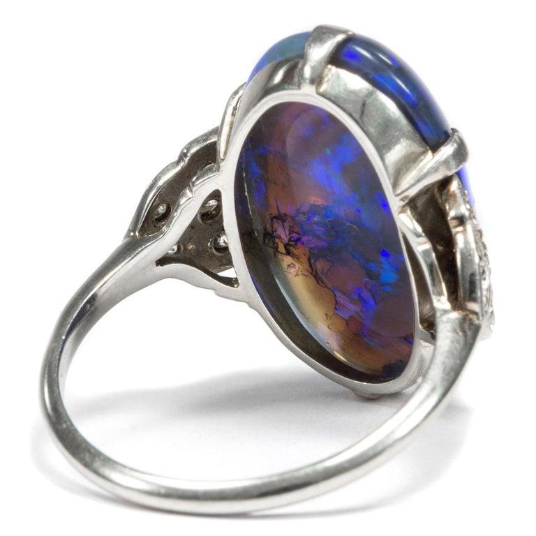 Women's or Men's Art Deco circa 1930, Black Opal and Diamond Platinum 18 Karat Gold Cocktail Ring For Sale