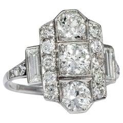 Art Deco circa 1930, Certified 2.25 Carat Old European Cut Diamond Platinum Ring