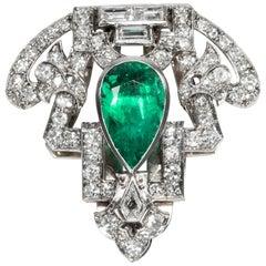 Art Deco circa 1930, Certified 2.6 Ct Natural Emerald Diamond Dress Clip Brooch