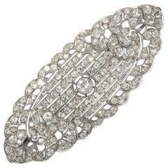 Art Déco circa 1930, Certified 7.3 Carat Diamond and Platinum Filigree Brooch
