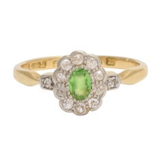 Art Deco circa 1930 Demantoid Garnet White Diamond Flower Cluster Ring