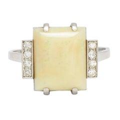 Art Deco Opal Diamond Cocktail Ring, circa 1930