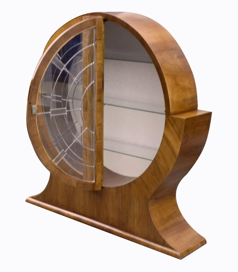 Art Deco Circular Display Vitrine Cabinet in Walnut, 1930s English For Sale 3