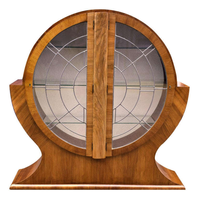 Art Deco Circular Display Vitrine Cabinet in Walnut, 1930s English For Sale