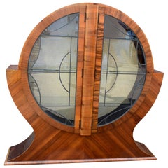Art Deco Circular Display Vitrine Cabinet in Walnut, 1930s English