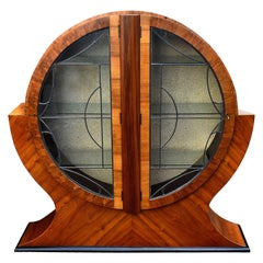 Art Deco Circular Display Vitrine Cabinet in Walnut, 1930s English