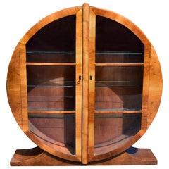 Art Deco Circular Display Vitrine Cabinet in Walnut, circa 1930
