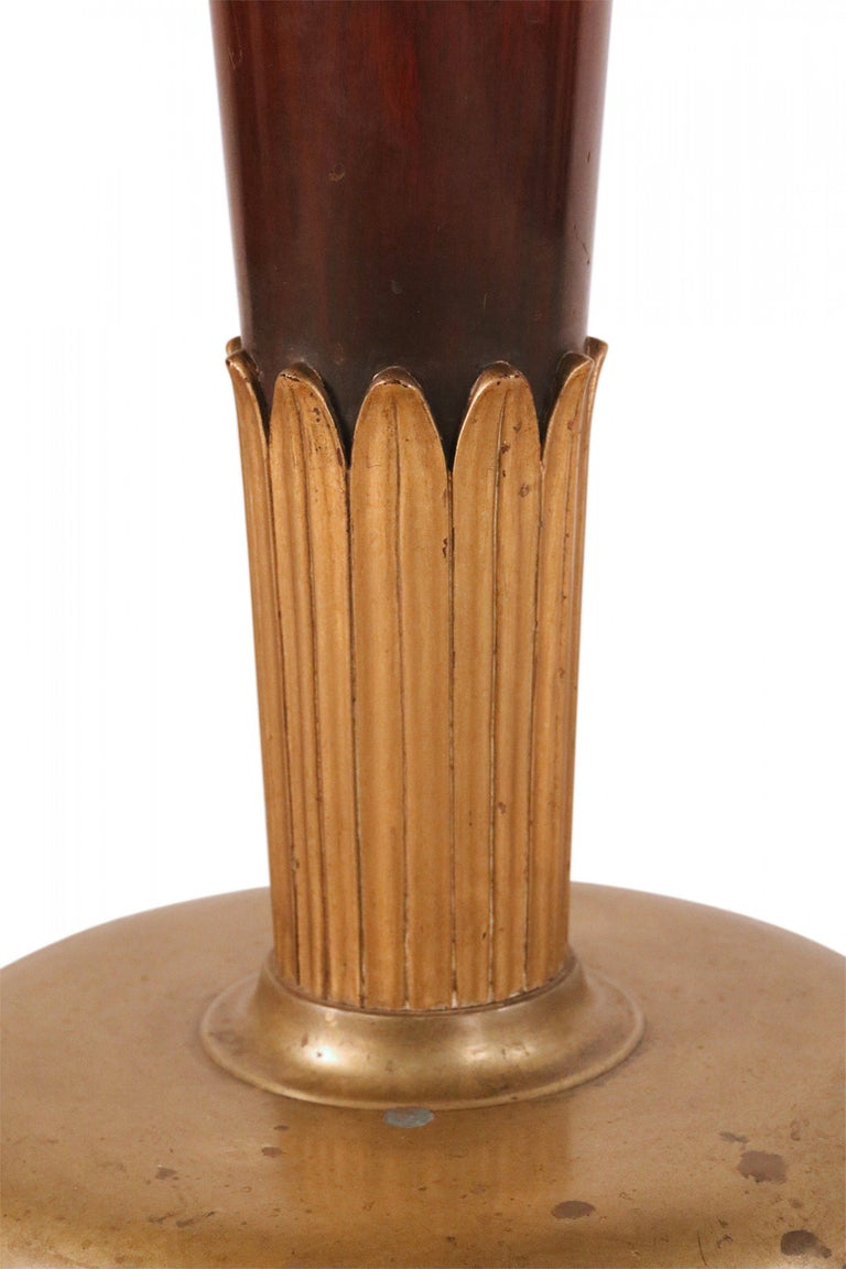 20th Century Art Deco Circular Mahogany and Brass End / Side Table For Sale