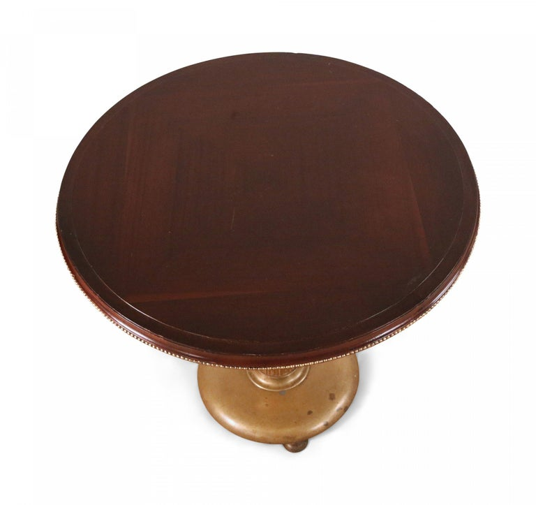 Art Deco Circular Mahogany and Brass End / Side Table For Sale 3