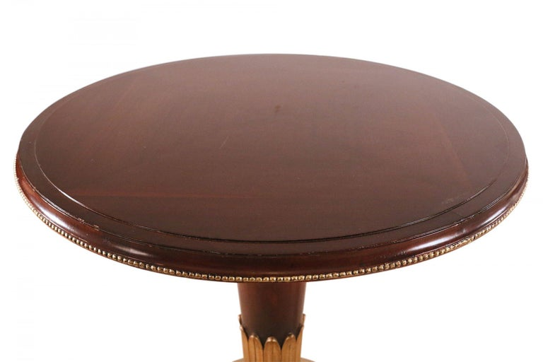 Art Deco Circular Mahogany and Brass End / Side Table For Sale 4