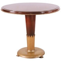 Art Deco Circular Mahogany and Brass End / Side Table