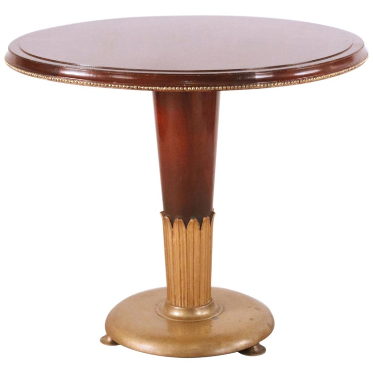 Art Deco Circular Mahogany and Brass End / Side Table For Sale