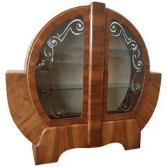 Art Deco Circular Shouldered Display Cabinet Bookcase in Walnut
