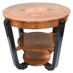 Art Deco Circular Walnut Occasional Three-Tier Table, circa 1930