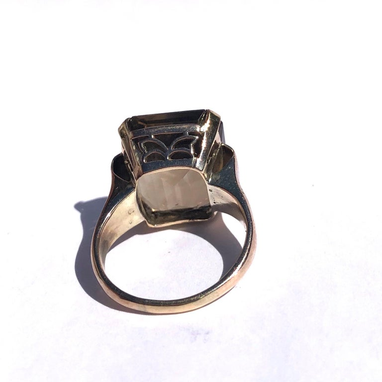 Emerald Cut Art Deco Citrine and 9 Carat Gold Cocktail Ring For Sale