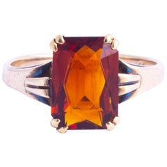 Art Deco Citrine and 9 Carat Gold Ring