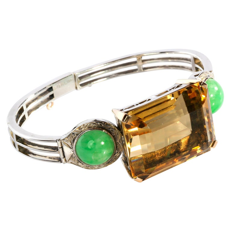 Art Deco Citrine and Natural Jadeite Jade Bracelet in Silver and Gold For Sale
