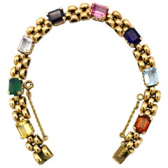 Art Deco Citrine Aquamarine Tourmaline Amethyst Gold Gate Bracelet