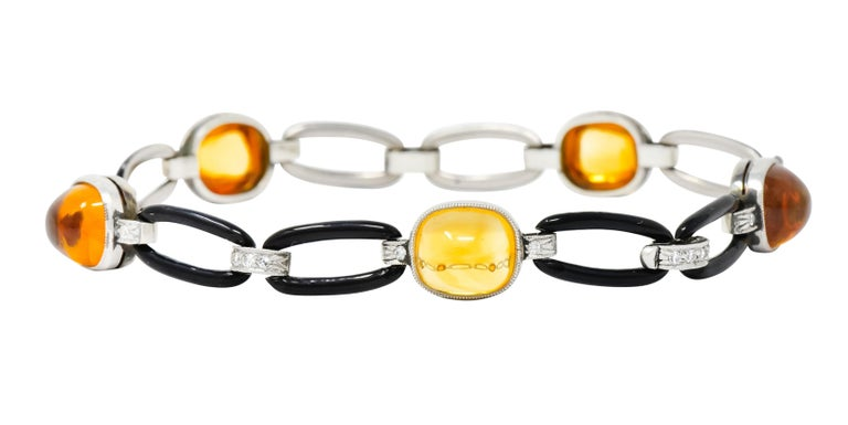 Art Deco Citrine Cabochon Diamond Enamel Platinum Linked Bracelet For Sale 6