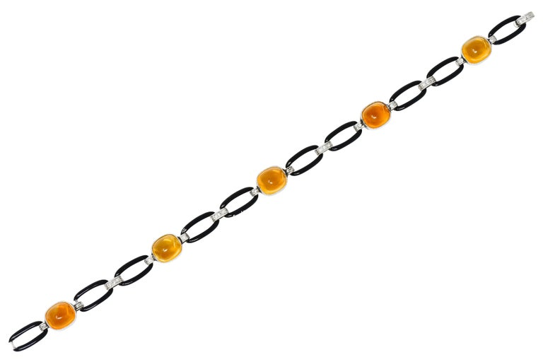 Art Deco Citrine Cabochon Diamond Enamel Platinum Linked Bracelet For Sale 7