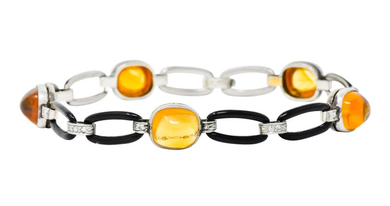 Cushion Cut Art Deco Citrine Cabochon Diamond Enamel Platinum Linked Bracelet For Sale
