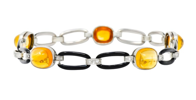 Art Deco Citrine Cabochon Diamond Enamel Platinum Linked Bracelet In Excellent Condition For Sale In Philadelphia, PA
