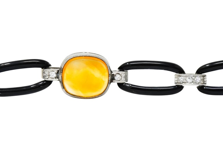 Art Deco Citrine Cabochon Diamond Enamel Platinum Linked Bracelet For Sale 1