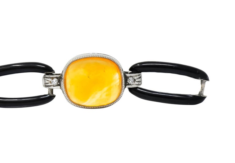 Art Deco Citrine Cabochon Diamond Enamel Platinum Linked Bracelet For Sale 3