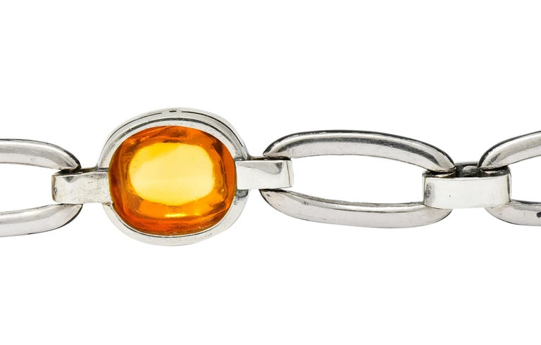 Art Deco Citrine Cabochon Diamond Enamel Platinum Linked Bracelet For Sale 4