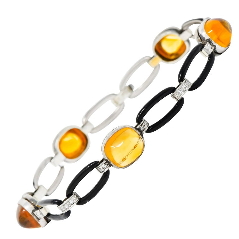 Art Deco Citrine Cabochon Diamond Enamel Platinum Linked Bracelet For Sale