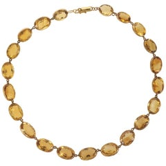Art Deco Citrine Link Collar Necklace