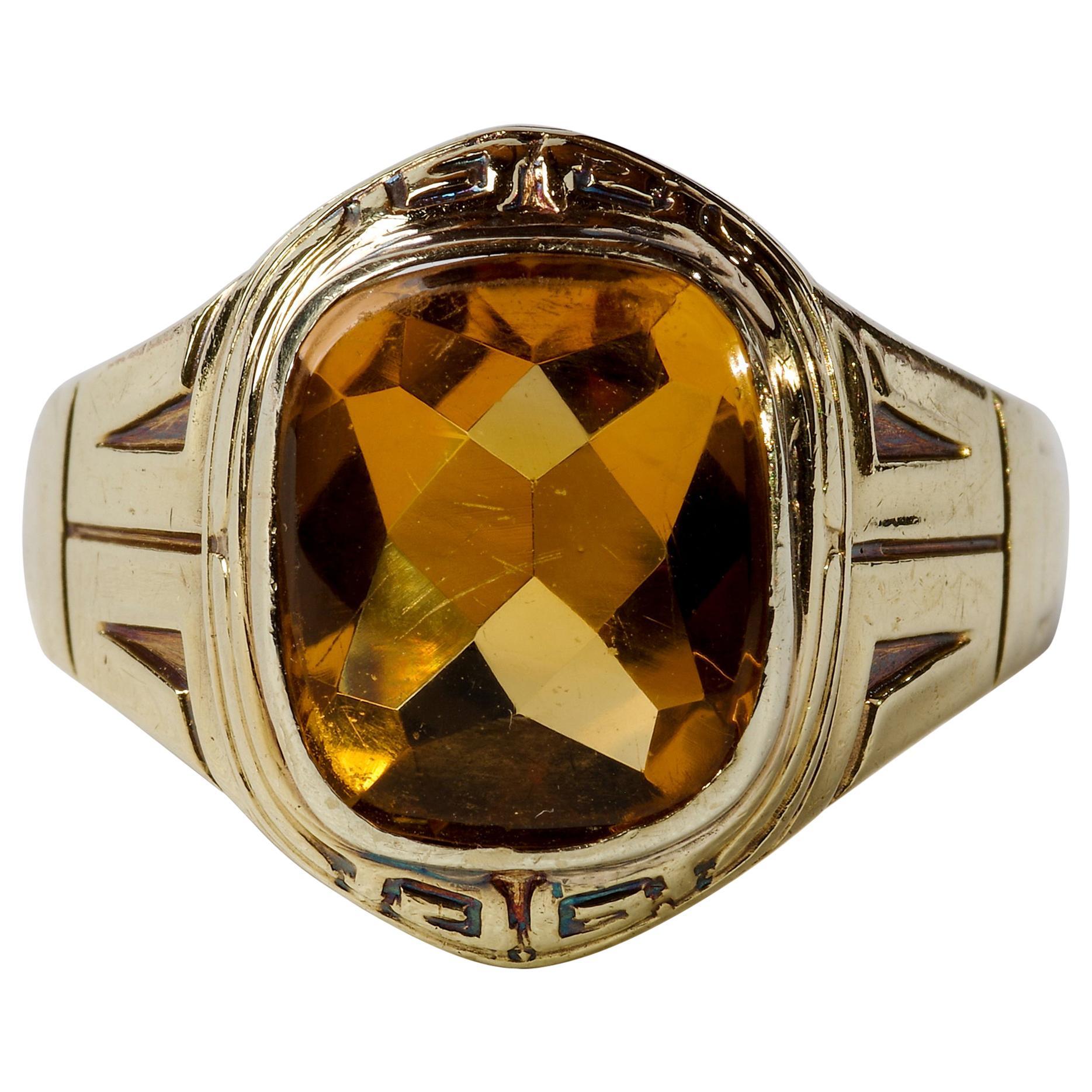 Art Deco Citrine Men's Ring