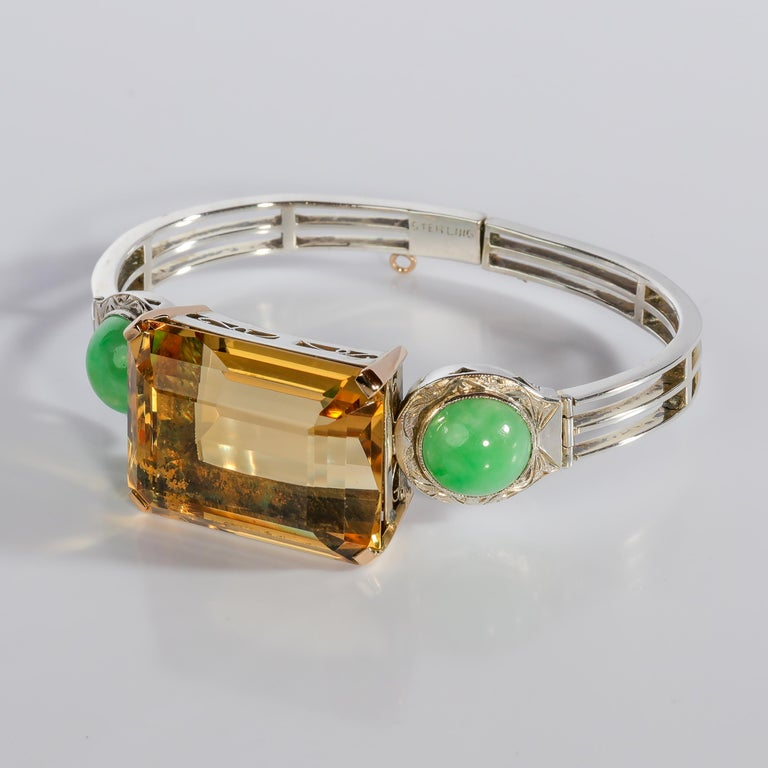 Art Deco Citrine and Natural Jadeite Jade Bracelet in Silver and Gold For Sale 6