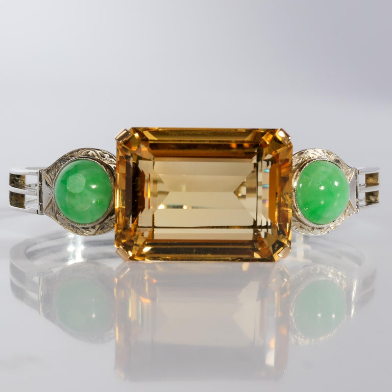 This citrine and jade bracelet is a quintessential art deco jewel. In fact, if you have ever been unclear as to exactly what