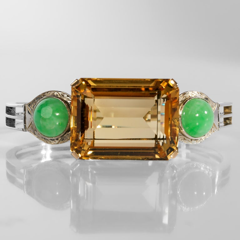 Art Deco Citrine and Natural Jadeite Jade Bracelet in Silver and Gold In Excellent Condition For Sale In Southbury, CT