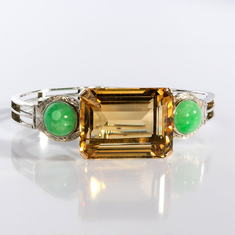 Women's or Men's Art Deco Citrine and Natural Jadeite Jade Bracelet in Silver and Gold For Sale