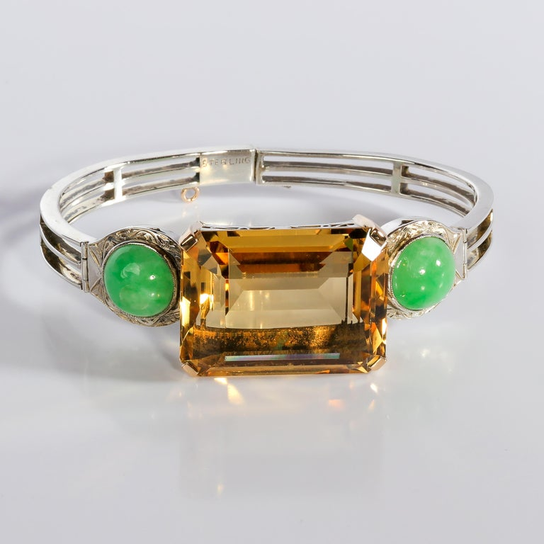 Art Deco Citrine and Natural Jadeite Jade Bracelet in Silver and Gold For Sale 1