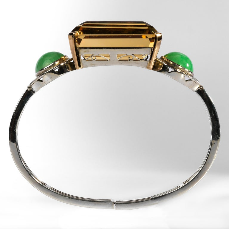 Art Deco Citrine and Natural Jadeite Jade Bracelet in Silver and Gold For Sale 2