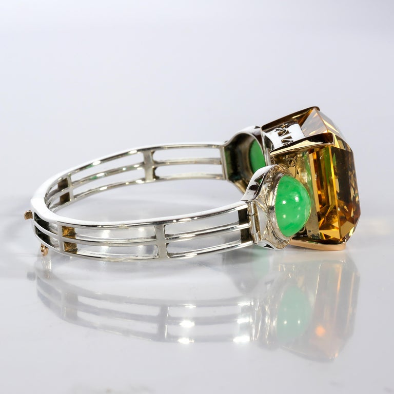 Art Deco Citrine and Natural Jadeite Jade Bracelet in Silver and Gold For Sale 4