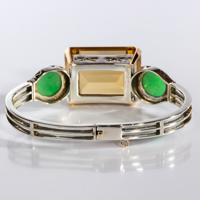 Art Deco Citrine and Natural Jadeite Jade Bracelet in Silver and Gold For Sale 5