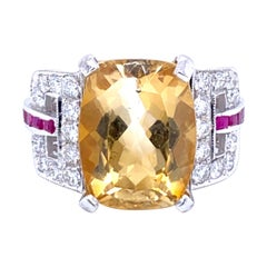 Art Deco Citrine Quartz Diamond Ruby Gold Ring