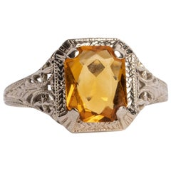 Art Deco Citrine Radiant Cut Gemstone White Gold Filigree Ring