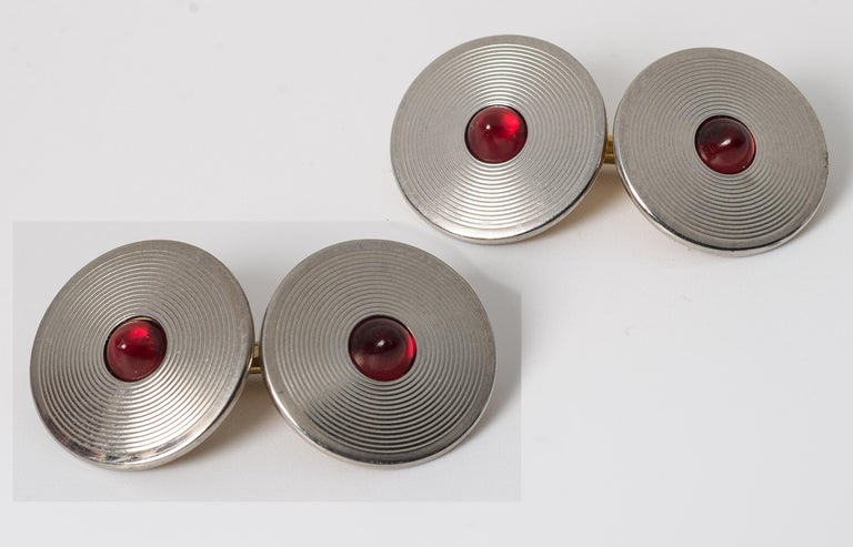 Art Deco classic faux ruby platinum metal finish mens cufflinks