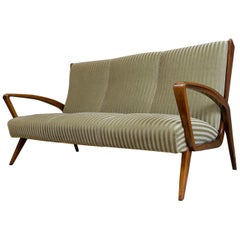 Art Deco Classic High Back Sofa by A.A.Patijn for Zijlstra 1950s Walnut Frame