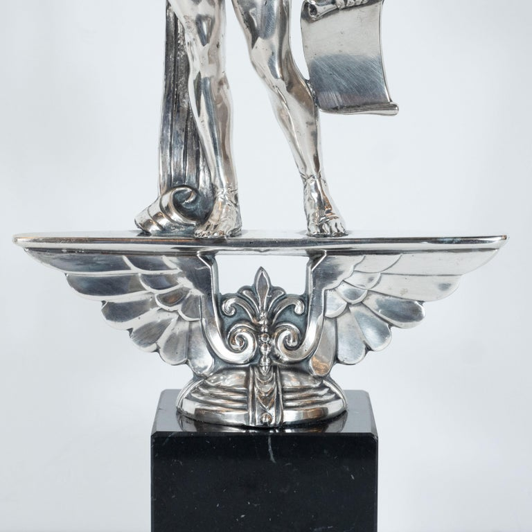 American Art Deco Classical Figurative Silvered Sculpture with Wing and Acanthus Motifs For Sale