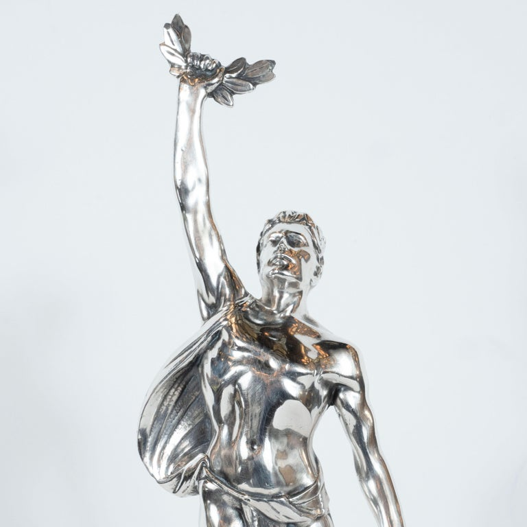 Art Deco Classical Figurative Silvered Sculpture with Wing and Acanthus Motifs In Excellent Condition For Sale In New York, NY