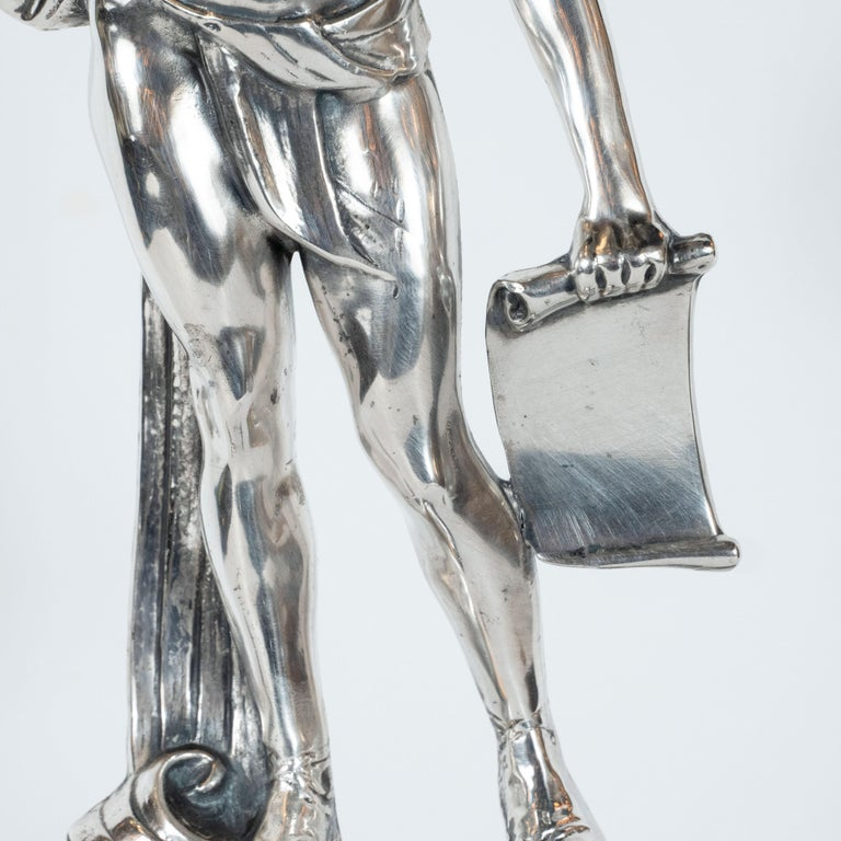 Mid-20th Century Art Deco Classical Figurative Silvered Sculpture with Wing and Acanthus Motifs For Sale