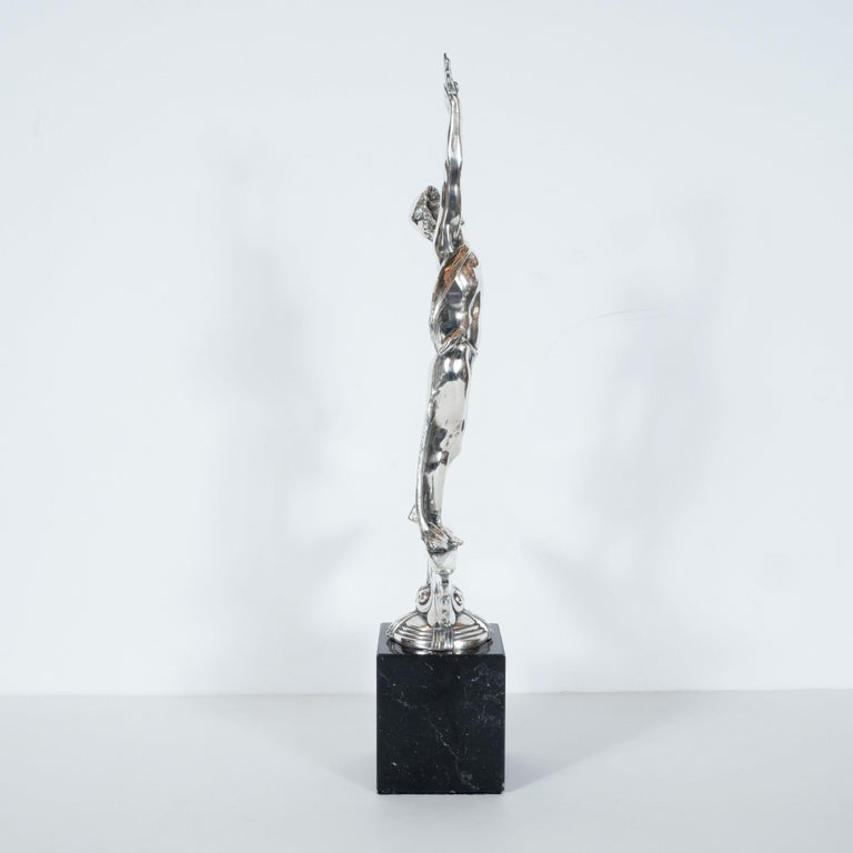 Art Deco Classical Figurative Silvered Sculpture with Wing and Acanthus Motifs For Sale 1