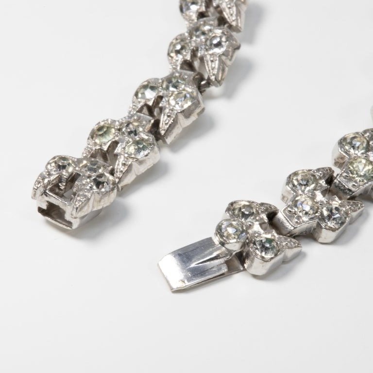Women's or Men's Art Deco Clear Crystal Encrusted Link Bracelet, Rhodium Plated For Sale
