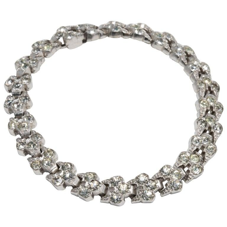 Art Deco Clear Crystal Encrusted Link Bracelet, Rhodium Plated For Sale